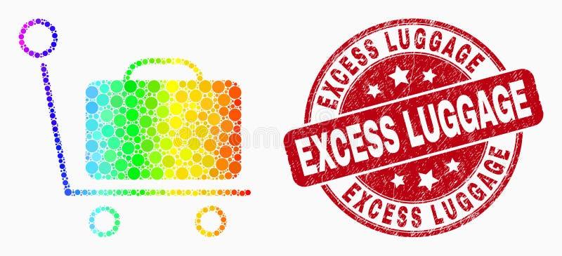 Διανυσματικό φασματικό διαστιγμένο εικονίδιο κάρρων αποσκευών και γρατσουνισμένη υπερβολική σφραγίδα αποσκευών διανυσματική απεικόνιση