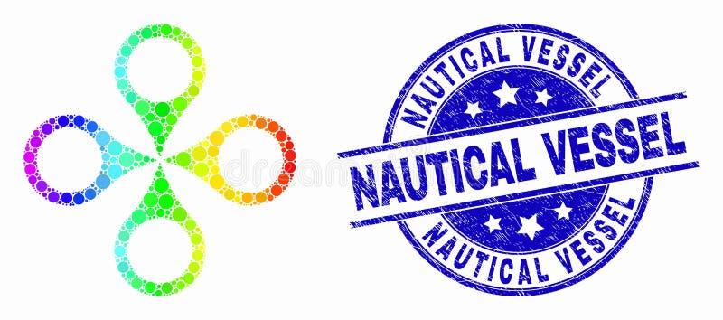 Διανυσματικό φασματικό διαστιγμένο εικονίδιο Quadrocopter και ναυτικό γραμματόσημο σκαφών Grunge διανυσματική απεικόνιση