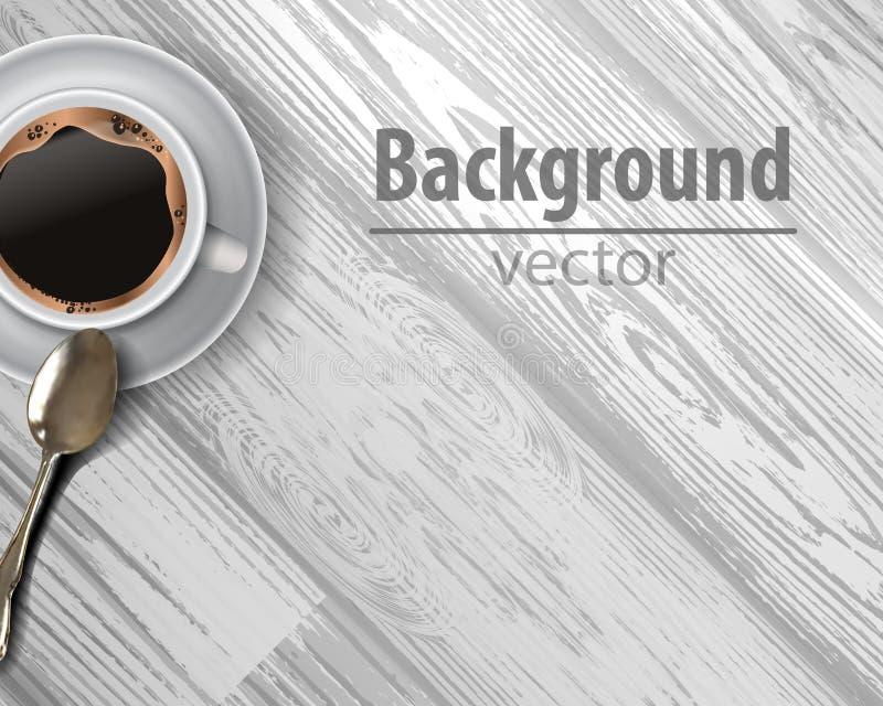 Διανυσματικό φλυτζάνι καφέ στο ξύλινο κλίμα ελεύθερη απεικόνιση δικαιώματος