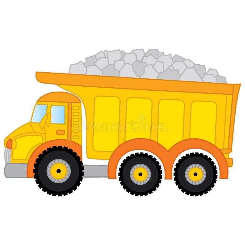Διανυσματικό φορτηγό απορρίψεων εμπορικό λεπτομερές γεια ημι λευκό truck διανυσματική απεικόνιση