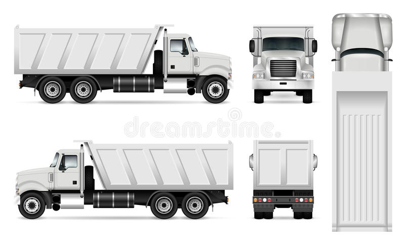 Διανυσματικό φορτηγό απορρίψεων ελεύθερη απεικόνιση δικαιώματος