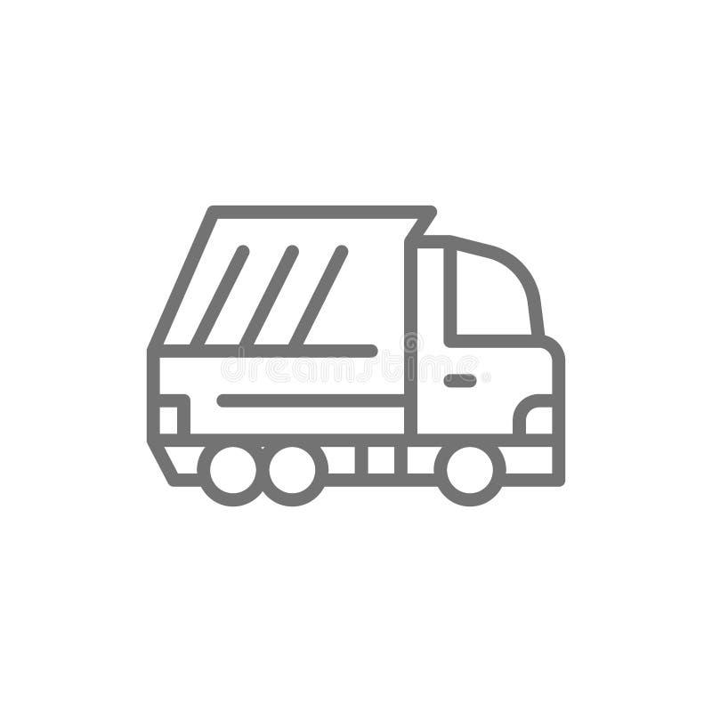 Διανυσματικό φορτηγό απορριμάτων, εικονίδιο γραμμών οχημάτων αποβλήτων ελεύθερη απεικόνιση δικαιώματος