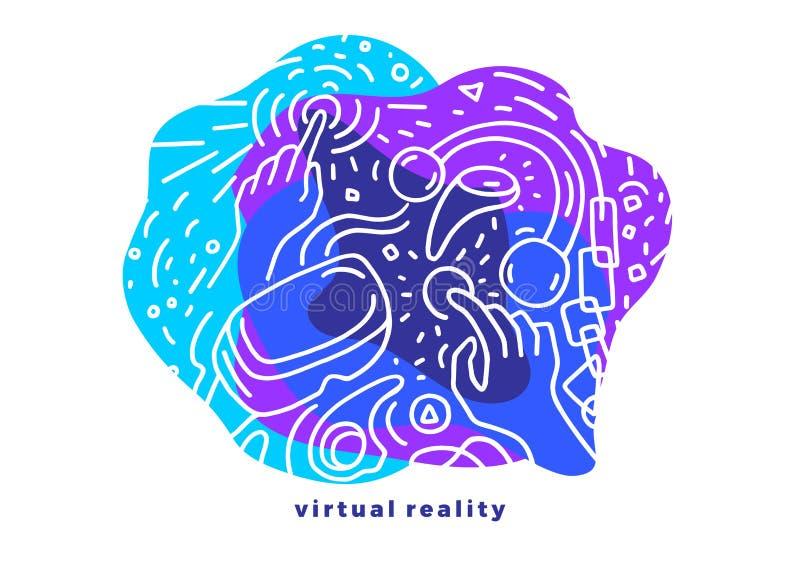 Διανυσματικό φουτουριστικό σχέδιο Εικονική πραγματικότητα Γραφική απεικόνιση τέχνης απεικόνιση αποθεμάτων