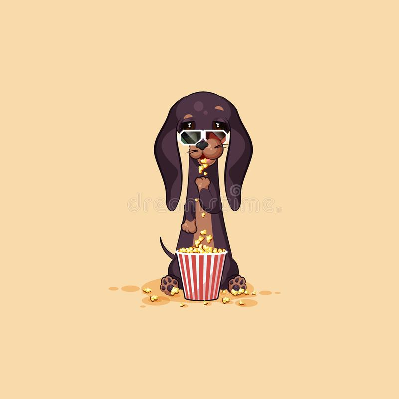 Διανυσματικό φυλακτό σκυλιών χαρακτήρα κινουμένων σχεδίων emoji απεικόνισης αποθεμάτων, κυνηγόσκυλο phylactery, μασκότ pooch, bow απεικόνιση αποθεμάτων