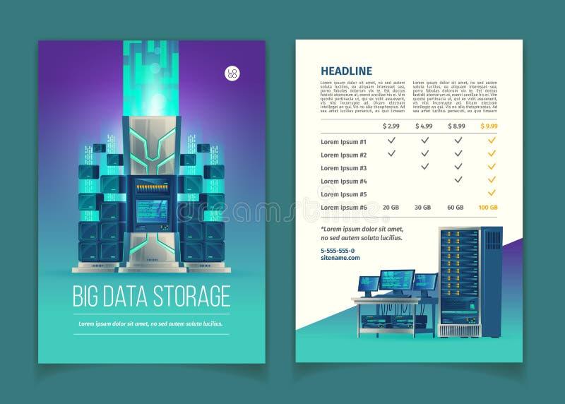 Διανυσματικό φυλλάδιο με τις υπηρεσίες αποθήκευσης στοιχείων διανυσματική απεικόνιση