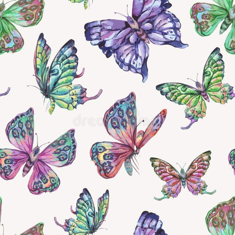 Διανυσματικό φυσικό άνευ ραφής σχέδιο άνοιξη με τις πεταλούδες ελεύθερη απεικόνιση δικαιώματος