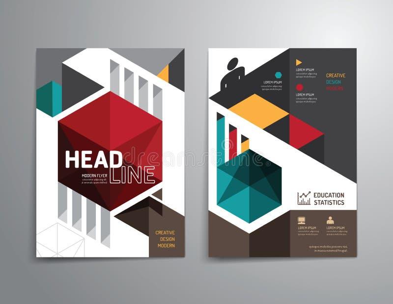 Διανυσματικό φυλλάδιο, ιπτάμενο, σχέδιο αφισών βιβλιάριων κάλυψης περιοδικών διανυσματική απεικόνιση