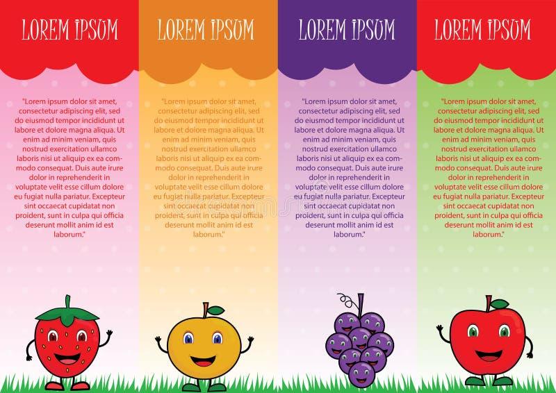 Διανυσματικό φυλλάδιο φρούτων διανυσματική απεικόνιση