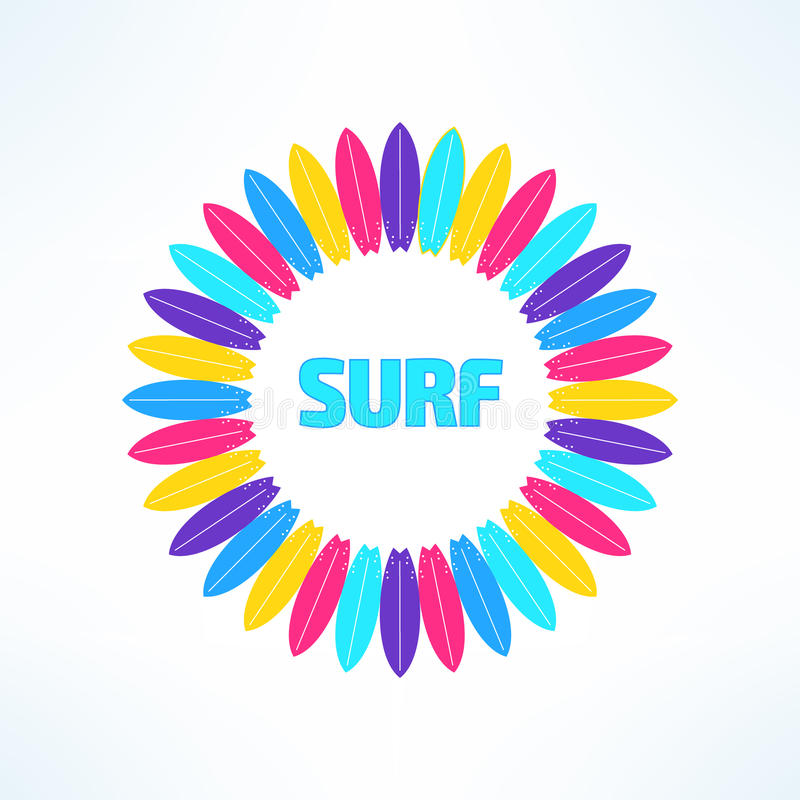 Διανυσματικό φωτεινό και ζωηρόχρωμο υπόβαθρο σερφ που γίνεται στο σύγχρονο επίπεδο σχέδιο Τυπωμένη ύλη μπλουζών Surfer Καλειδοσκό διανυσματική απεικόνιση