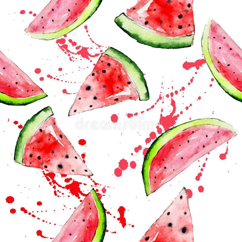 Διανυσματικό φωτεινό καρπούζι watercolor άνευ ραφής ελεύθερη απεικόνιση δικαιώματος