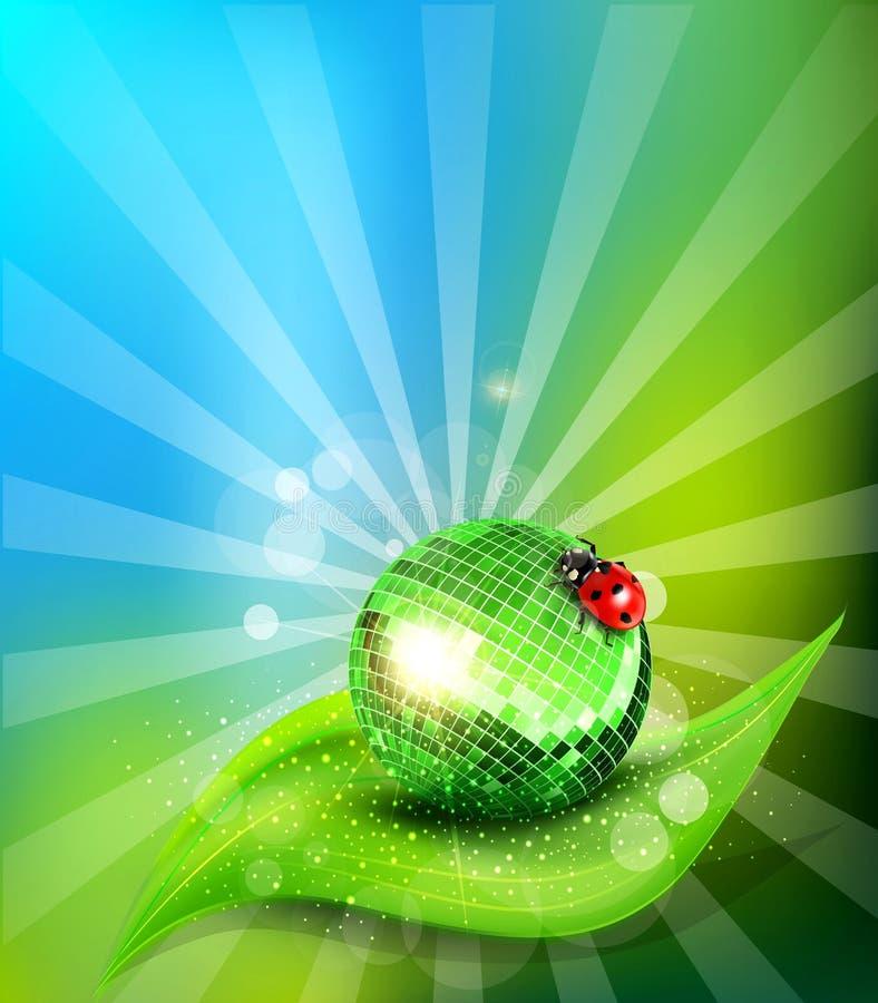 Διανυσματικό φύλλο, αντανακλημένη σφαίρα disco και ένα ladybug απεικόνιση αποθεμάτων