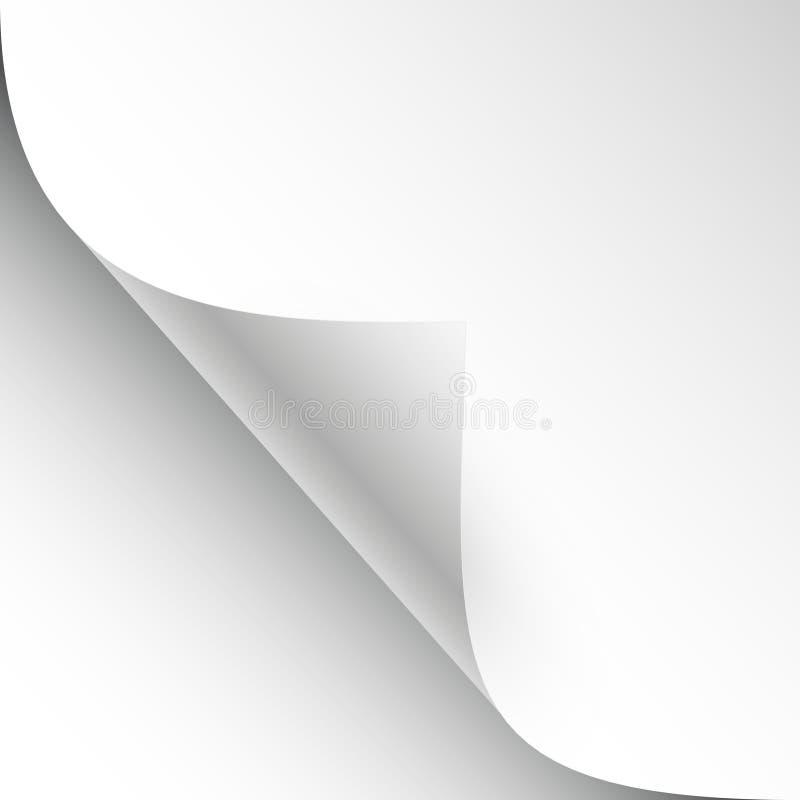 Διανυσματικό φύλλο του εγγράφου με την μπούκλα και τη σκιά σελίδων ελεύθερη απεικόνιση δικαιώματος
