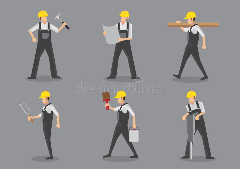 Διανυσματικό φύλλο χαρακτήρα εργατών οικοδομών ελεύθερη απεικόνιση δικαιώματος