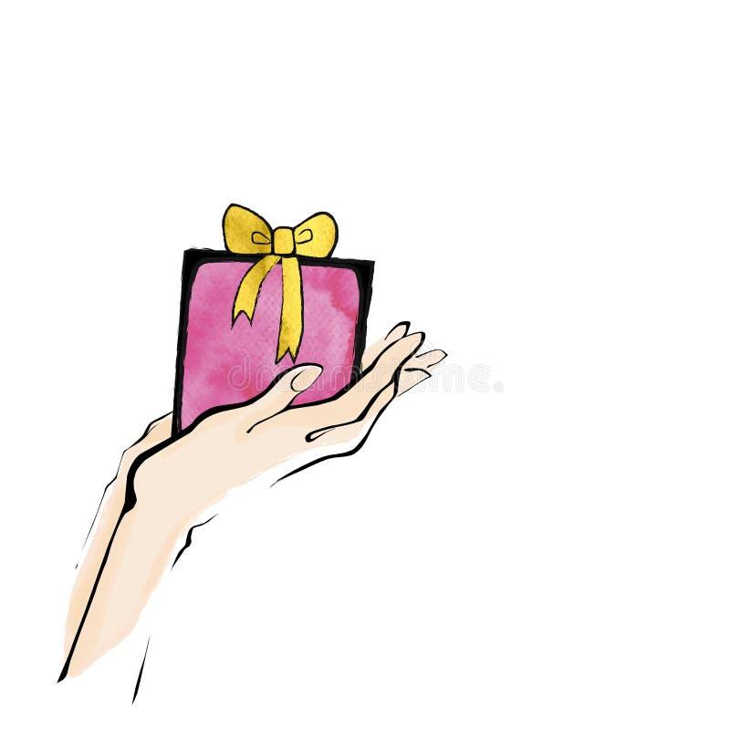 Διανυσματικό χέρι απεικόνισης που κρατά το παρόν δώρο watercolour απεικόνιση αποθεμάτων