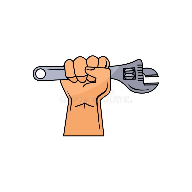 Διανυσματικό χέρι ατόμων κινούμενων σχεδίων που κρατά το διευθετήσιμο γαλλικό κλειδί απεικόνιση αποθεμάτων
