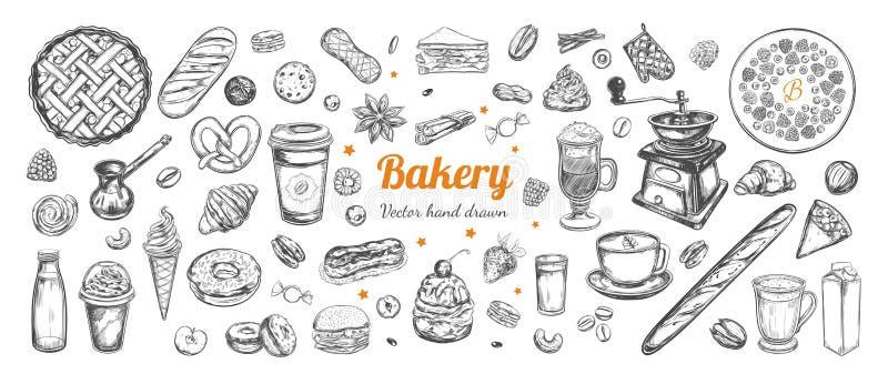 Διανυσματικό χέρι καφέ και αρτοποιείων που σύρεται, στοιχεία διανυσματική απεικόνιση