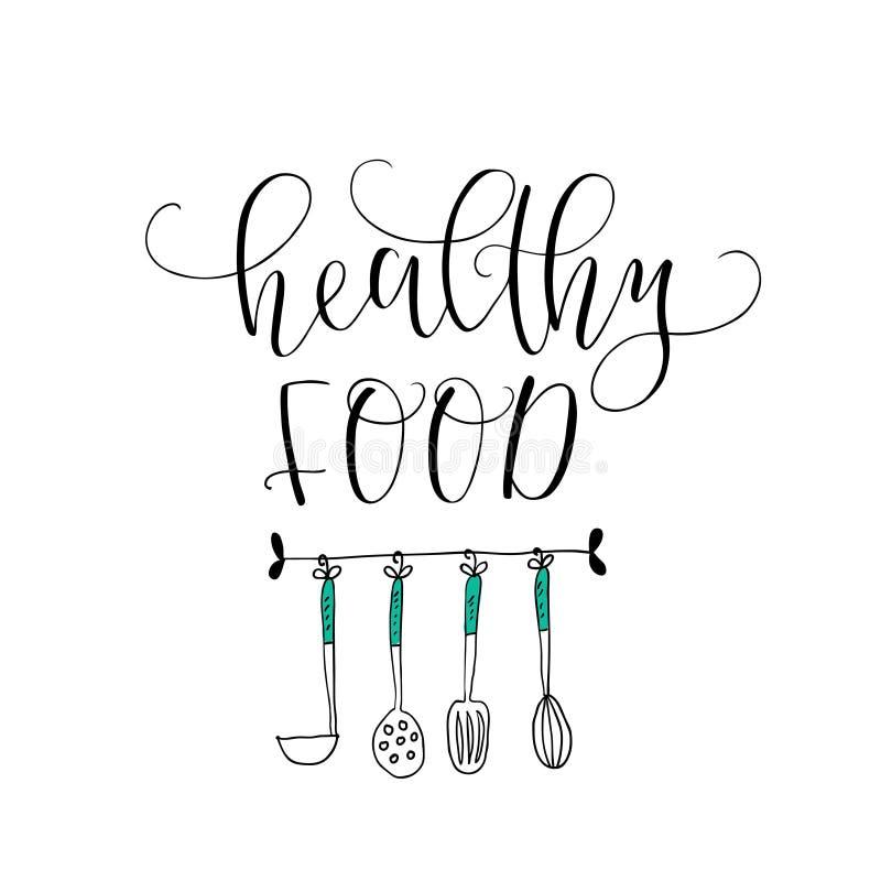 Διανυσματικό χέρι που γράφει τα υγιή τρόφιμα Με την εικόνα των μαγειρεύοντας εργαλείων Λογότυπο για το εστιατόριο, αγορά τροφίμων απεικόνιση αποθεμάτων