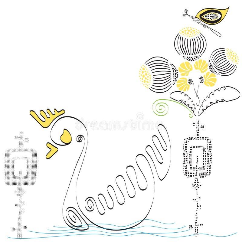 Διανυσματικό χέρι που σύρεται με την πάπια και την πεταλούδα διανυσματική απεικόνιση