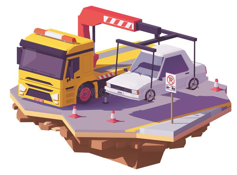 Διανυσματικό χαμηλό πολυ φορτηγό ρυμούλκησης διανυσματική απεικόνιση