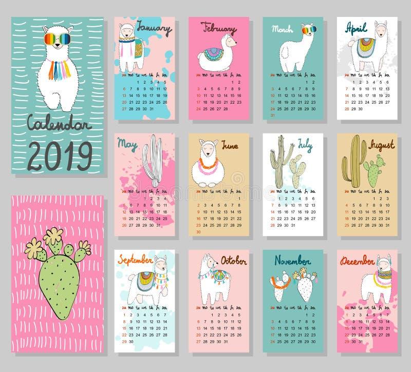Διανυσματικό χαριτωμένο ημερολόγιο 2019 ελεύθερη απεικόνιση δικαιώματος