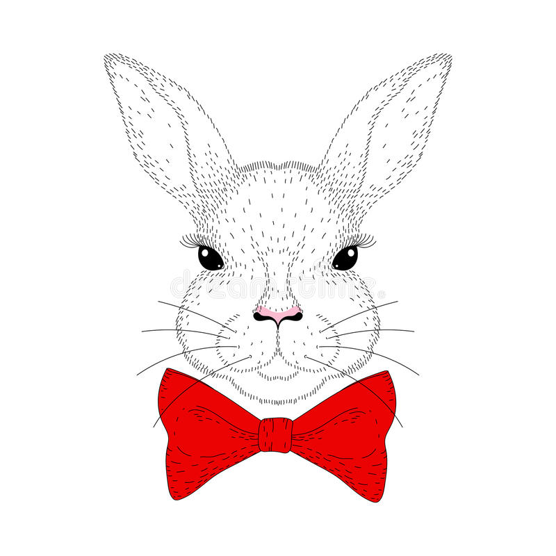 Διανυσματικό χαριτωμένο πορτρέτο λαγουδάκι Συρμένο χέρι κεφάλι κουνελιών με το κόκκινο τόξο ελεύθερη απεικόνιση δικαιώματος