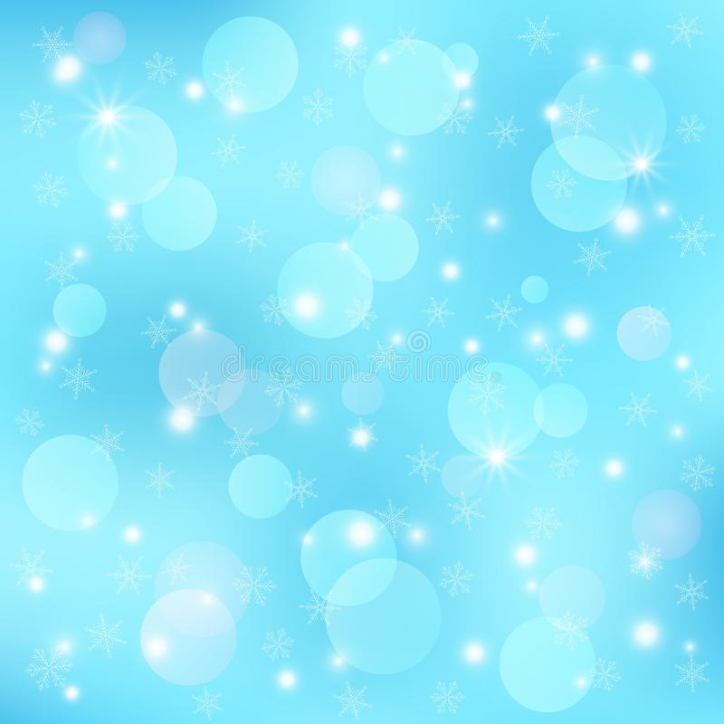 Διανυσματικό χειμερινό εορταστικό υπόβαθρο Το πρότυπο με το bokeh, snowflakes διανυσματική απεικόνιση
