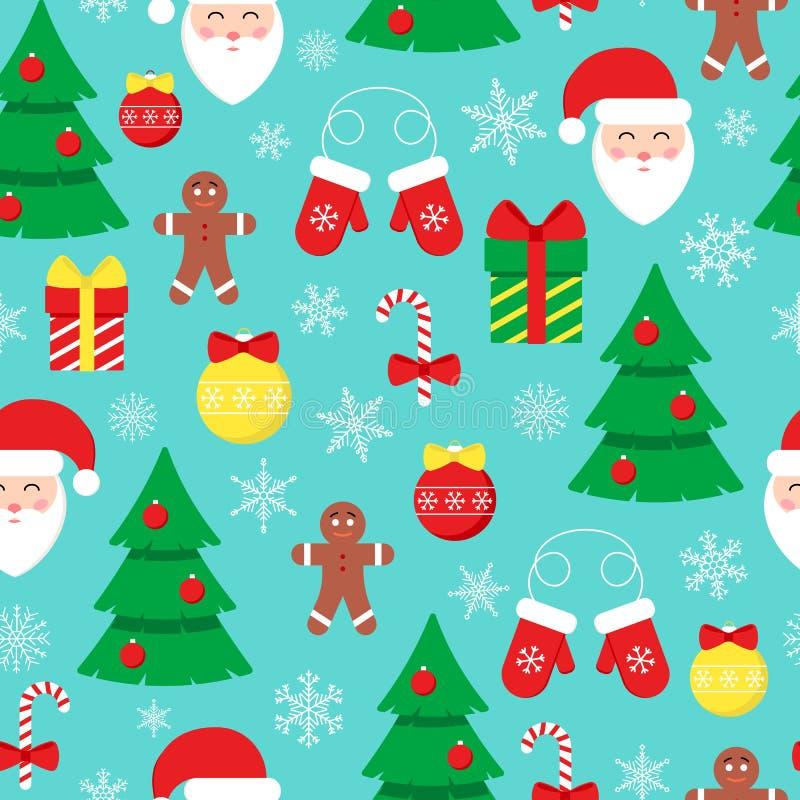 Διανυσματικό χειμερινό σχέδιο με τα στοιχεία ντεκόρ Άγιου Βασίλη και Χριστουγέννων διανυσματική απεικόνιση
