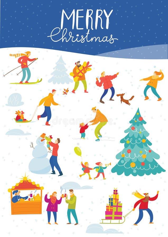 Διανυσματικό χειμερινό σχέδιο Χαρούμενα Χριστούγεννας για τις διακοπές με τις αγορές και τους ενεργούς ανθρώπους απεικόνιση αποθεμάτων
