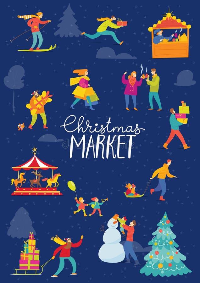 Διανυσματικό χειμερινό σχέδιο Χριστουγέννων για τις διακοπές με τους αφηρημένους ανθρώπους που κάνουν τις χειμερινές δραστηριότητ απεικόνιση αποθεμάτων