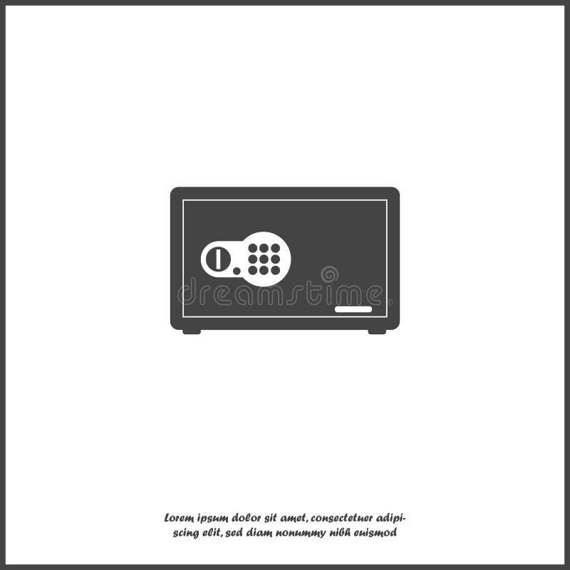 Διανυσματικό χρηματοκιβώτιο τραπεζών εικονιδίων Χρηματοκιβώτιο για την αποθήκευση των εγγράφων, χρήματα σχετικά με απομονωμένο το απεικόνιση αποθεμάτων