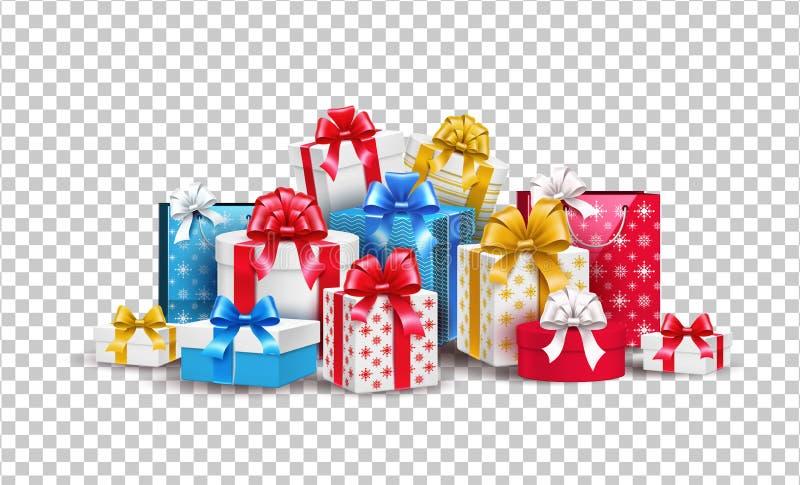 Διανυσματικό Χριστουγέννων νέο έτους δώρο κιβωτίων διακοπών παρόν διανυσματική απεικόνιση