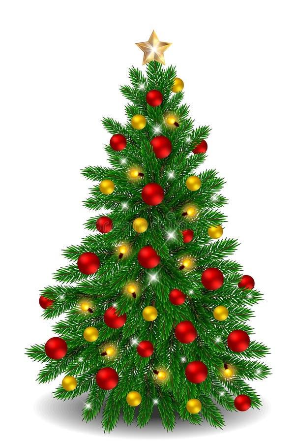 Διανυσματικό χριστουγεννιάτικο δέντρο με τις κόκκινες και χρυσές διακοσμήσεις απεικόνιση αποθεμάτων