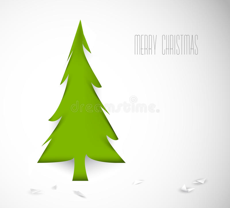 Διανυσματικό χριστουγεννιάτικο δέντρο που αποκόβεται από το έγγραφο διανυσματική απεικόνιση