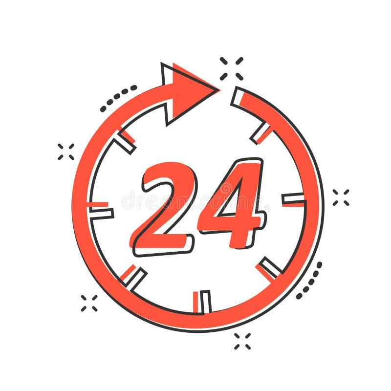Διανυσματικό χρονικό εικονίδιο κινούμενων σχεδίων στο κωμικό ύφος σημάδι 24 ωρών illustrat απεικόνιση αποθεμάτων