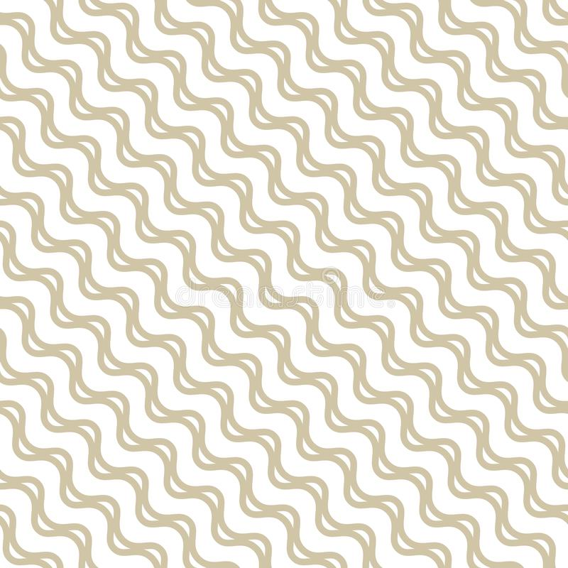 Διανυσματικό χρυσό άνευ ραφής σχέδιο με τις κυματιστές γραμμές, διαγώνια κύματα, λωρίδες διανυσματική απεικόνιση