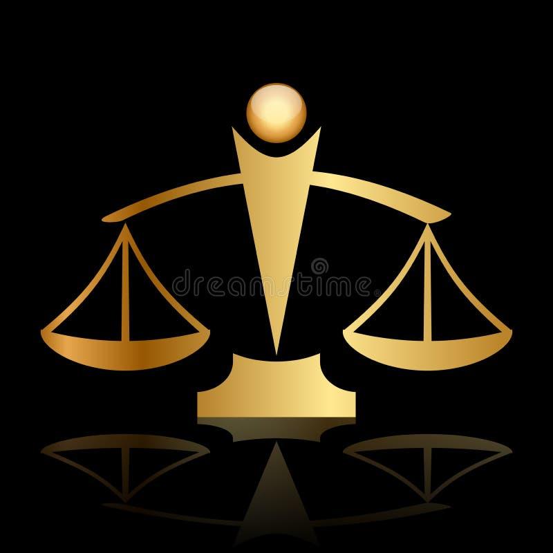 Κλίμακες δικαιοσύνης στο μαύρο υπόβαθρο απεικόνιση αποθεμάτων