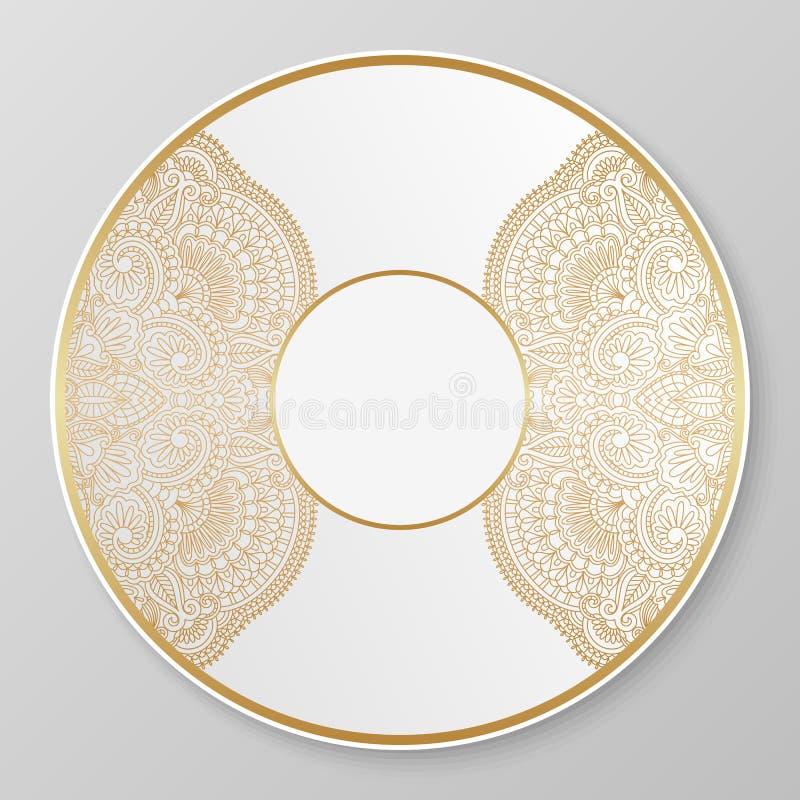 Διανυσματικό χρυσό διακοσμητικό πιάτο απεικόνιση αποθεμάτων