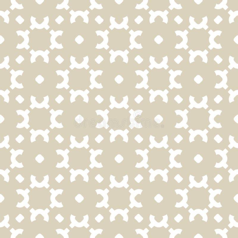 Διανυσματικό χρυσό και άσπρο υπόβαθρο Αφηρημένος γεωμετρικός floral άνευ ραφής patern στο ασιατικό ύφος απεικόνιση αποθεμάτων