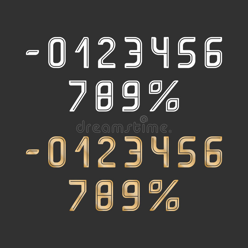 Διανυσματικό χρυσό και άσπρο χρώμα αριθμών με τις σκοτεινές γραμμές στον γκρίζο τομέα διανυσματική απεικόνιση