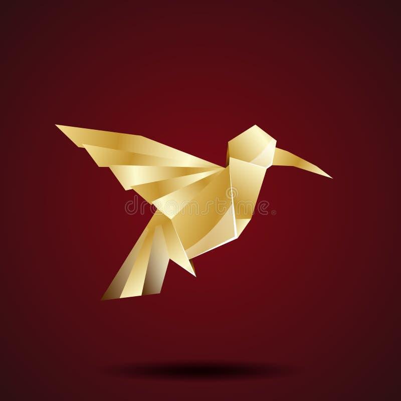 Διανυσματικό χρυσό κολίβριο origami ελεύθερη απεικόνιση δικαιώματος