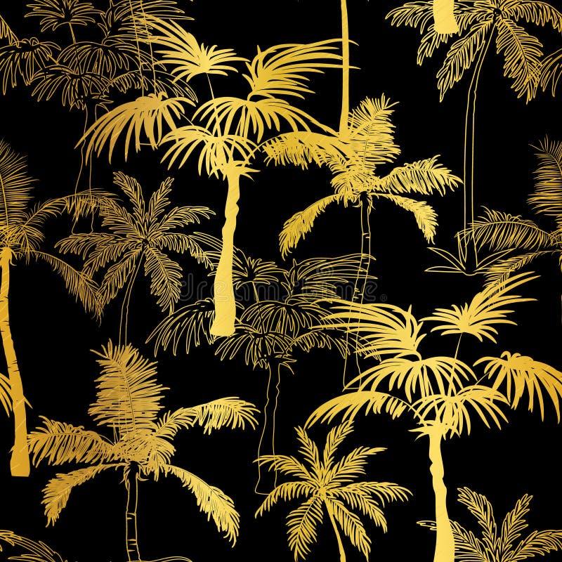 Διανυσματικό χρυσό μαύρο υπόβαθρο θερινών άνευ ραφής σχεδίων φοινίκων Μεγάλος για το τροπικό ύφασμα διακοπών, κάρτες, γάμος ελεύθερη απεικόνιση δικαιώματος