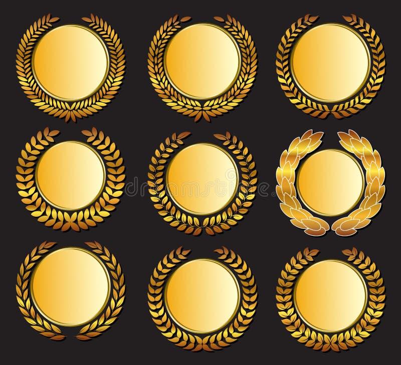 Διανυσματικό χρυσό μετάλλιο και laurels ελεύθερη απεικόνιση δικαιώματος