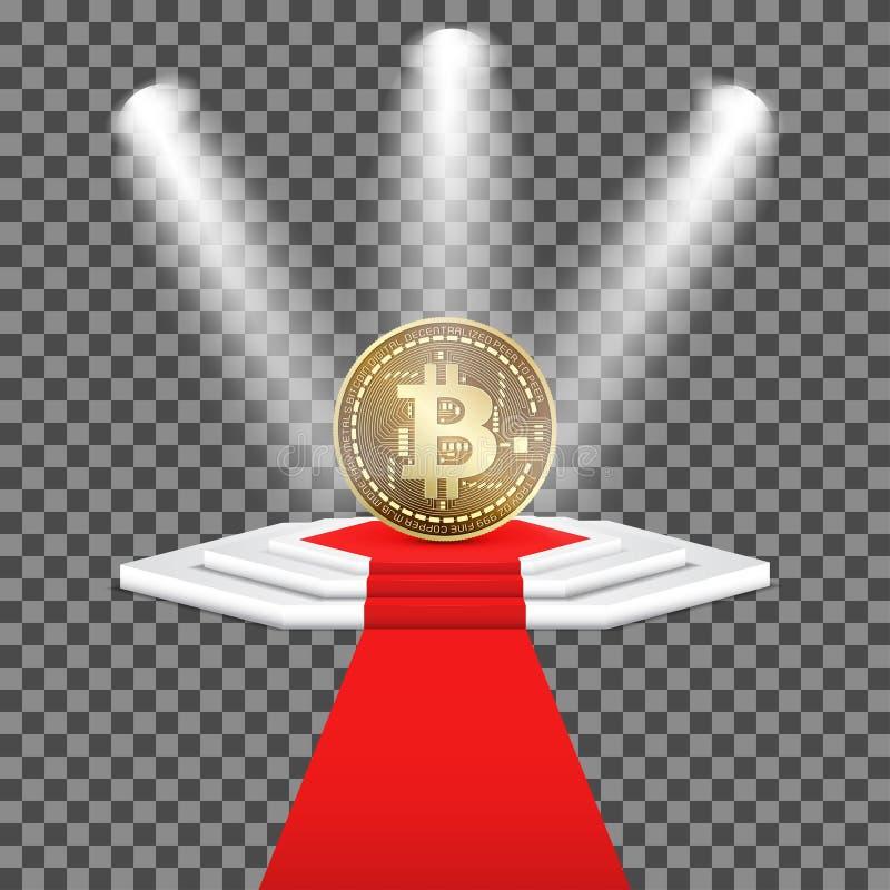 Διανυσματικό χρυσό νόμισμα του cryptocurrency bitcoin στη φωτισμένη εξέδρα με το κόκκινο χαλί Απομονωμένος στο διαφανές υπόβαθρο διανυσματική απεικόνιση