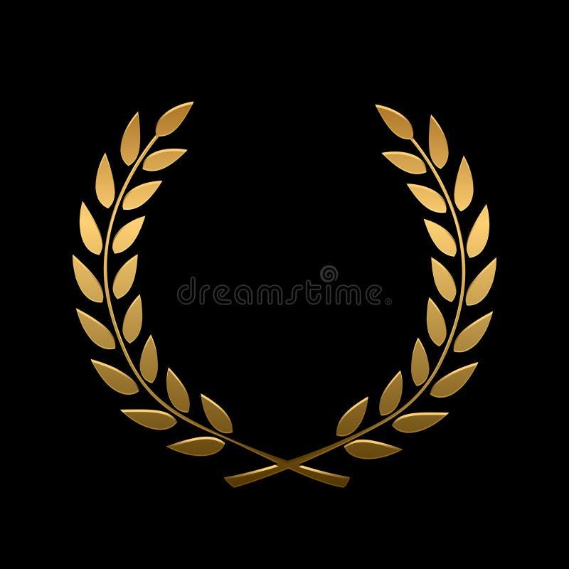 Διανυσματικό χρυσό στεφάνι δαφνών βραβείων ελεύθερη απεικόνιση δικαιώματος