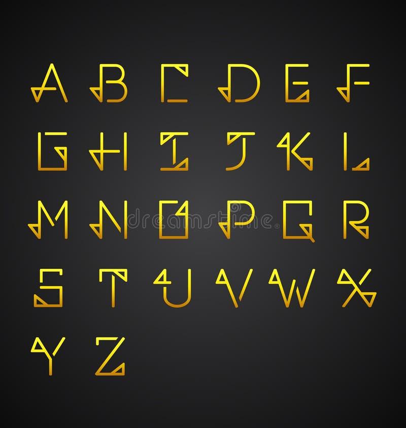 Διανυσματικό χρυσό σύνολο αλφάβητου απεικόνιση αποθεμάτων