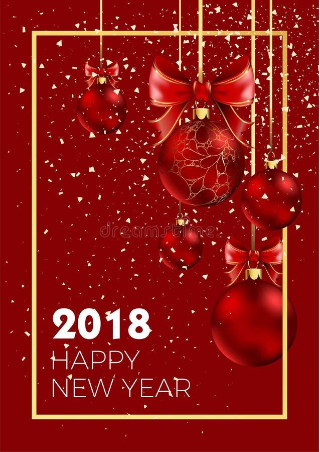 Διανυσματικό χρυσό υπόβαθρο σχεδίων διακοσμήσεων σφαιρών Χριστουγέννων καλής χρονιάς 2018 snowfakes ελεύθερη απεικόνιση δικαιώματος