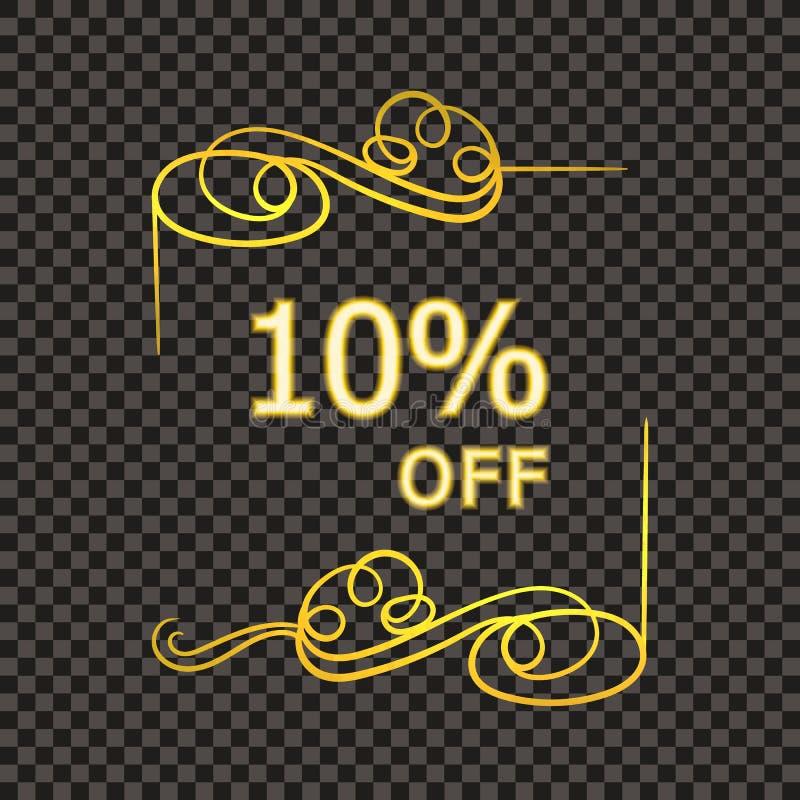 Διανυσματικό χρυσό Filigree πλαίσιο με 10 τοις εκατό από το σημάδι, ετικέττα πώλησης, καλλιγραφικό λάμποντας στοιχείο σχεδίου διανυσματική απεικόνιση