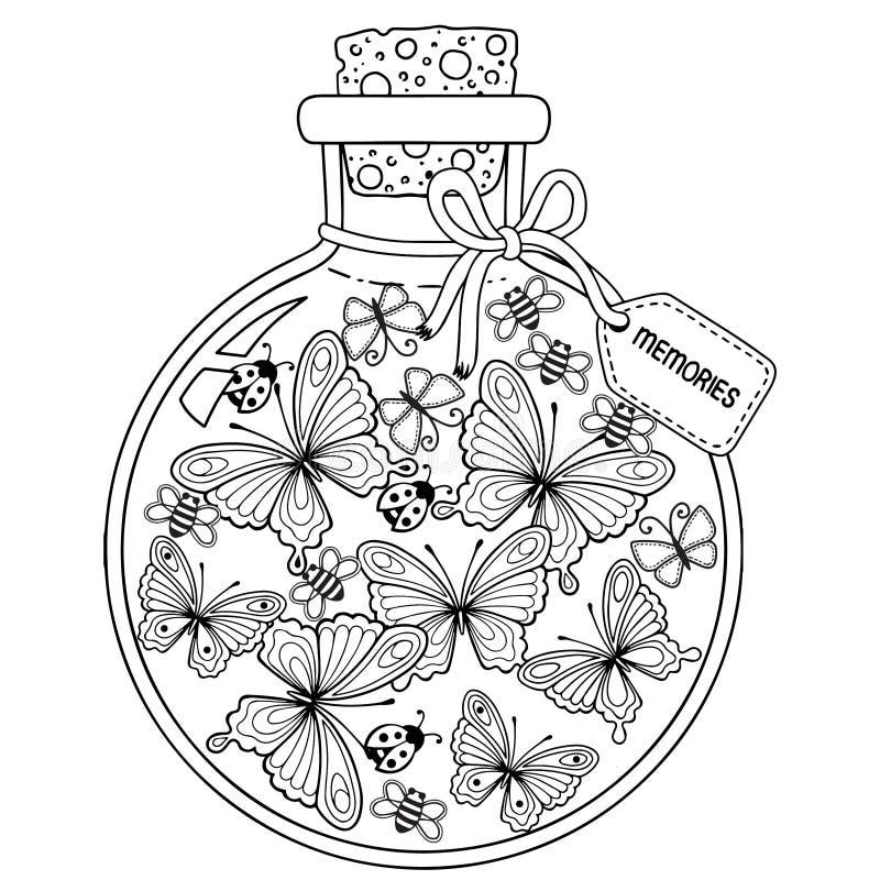 Διανυσματικό χρωματίζοντας βιβλίο για τους ενηλίκους Ένα σκάφος γυαλιού με τις μνήμες του καλοκαιριού Ένα μπουκάλι με τις μέλισσε απεικόνιση αποθεμάτων
