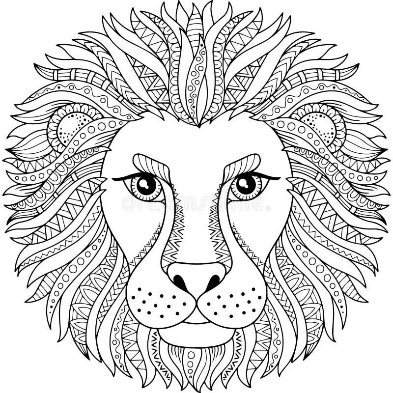 Διανυσματικό χρωματίζοντας βιβλίο για τον ενήλικο Σκιαγραφία του λιονταριού που απομονώνεται στο άσπρο υπόβαθρο zodiac σημαδιών l ελεύθερη απεικόνιση δικαιώματος