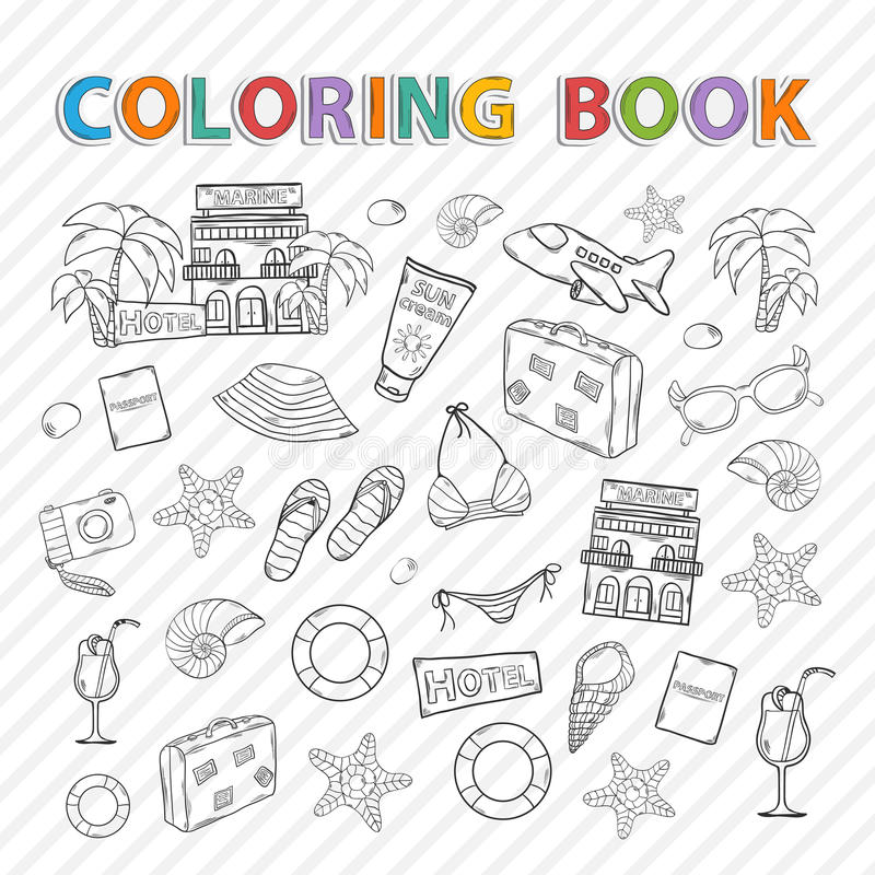 Διανυσματικό χρωματίζοντας βιβλίο Θερινό σύνολο ελεύθερη απεικόνιση δικαιώματος